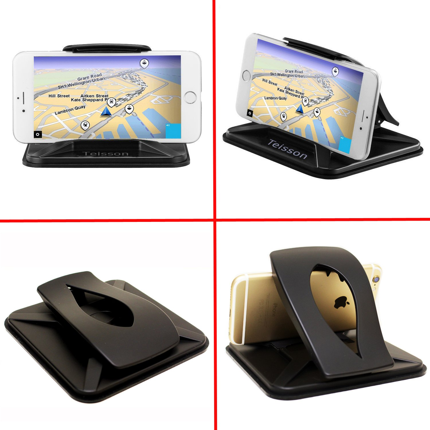 Teisson Car Dashboard Cell Phone Mount Compatible iPhone Xs Max iPhone XR X//8//8Plus Galaxy Google Phones from 4-7 Inch 4351521924