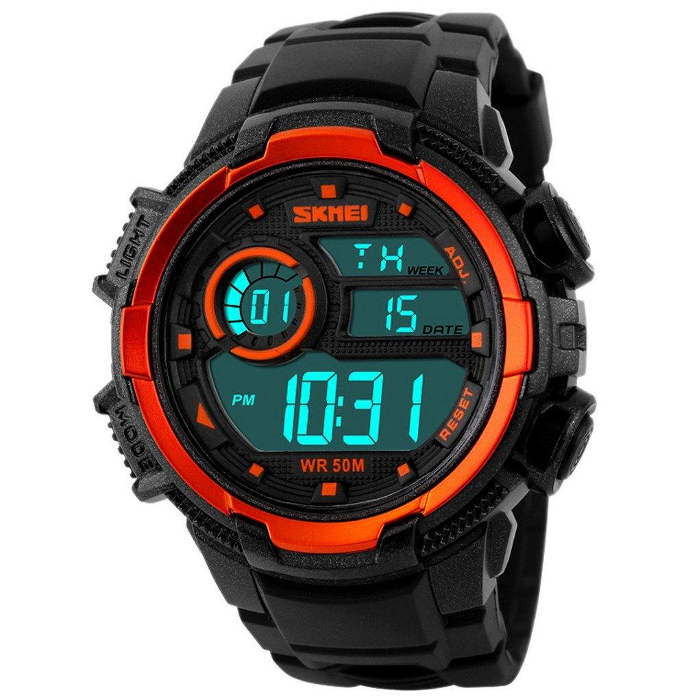 SKMEI - Reloj LED Digital de Deportes Resistente a Agua para Hombres Chicos Reloj Electrónico con Doble Horarios Movimiento Multifunciones Alarma Cronómetro ...