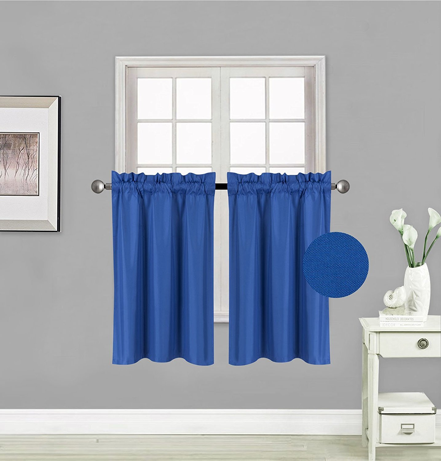 Fancy Collection 2 Panel Curtains Blackout Draperies Thermal Insulated Solid Royal Blue Rod Pocket Top Blackout Drapes Each Panel is 27'' W X 36'' L Each for Kid's Room, Bathroom, Kitchen New