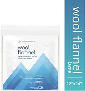 "Home Health Wool Flannel - Large Size, 18"" x 24"" - 100% White Wool, Extra Thick Weave, Unbleached, No Synthetics, for Castor Oil Packs, Reusable - Cruelty-Free, Eco-Friendly"