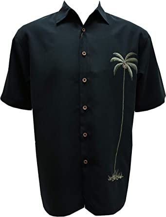 Hawaiian Embroidered Casual Button Down Shirt Bamboo Cay Mens Chest Bird of Paradise