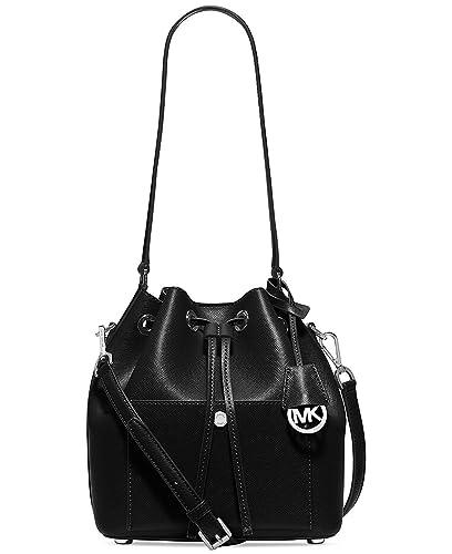 3341eb20fc39b8 MICHAEL Michael Kors Greenwich Medium Bucket Bag (Black): Handbags:  Amazon.com