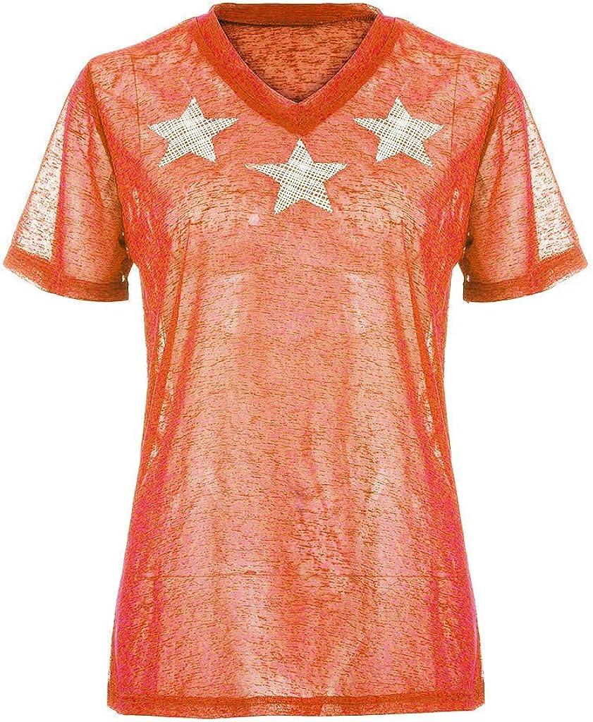AIFGR Camisa de Mujer Damas Moda con Cuello en V Camiseta ...