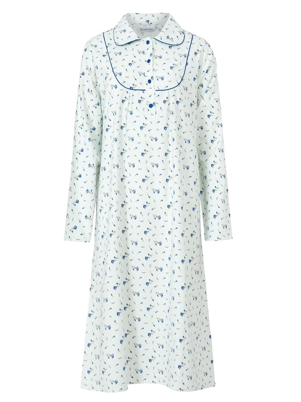 Slenderella Womens Nightdress Floral Flanel Soft Light Peter Pan Collar 100% Cotton