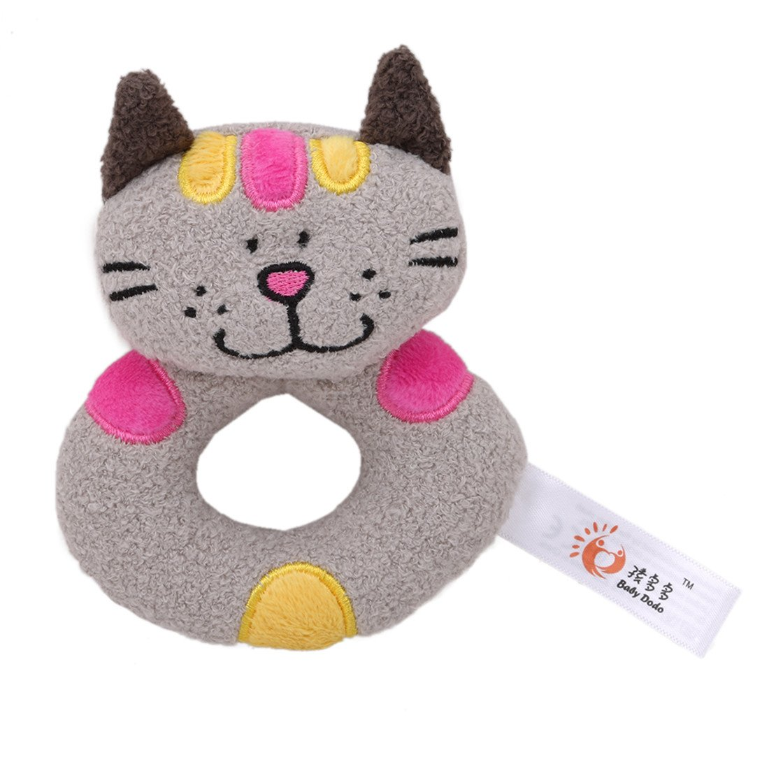 Edtoy Cute Animal Soft Baby Teething Toys Wrist Rattles and Foot Finders for Fun Toys (cat)