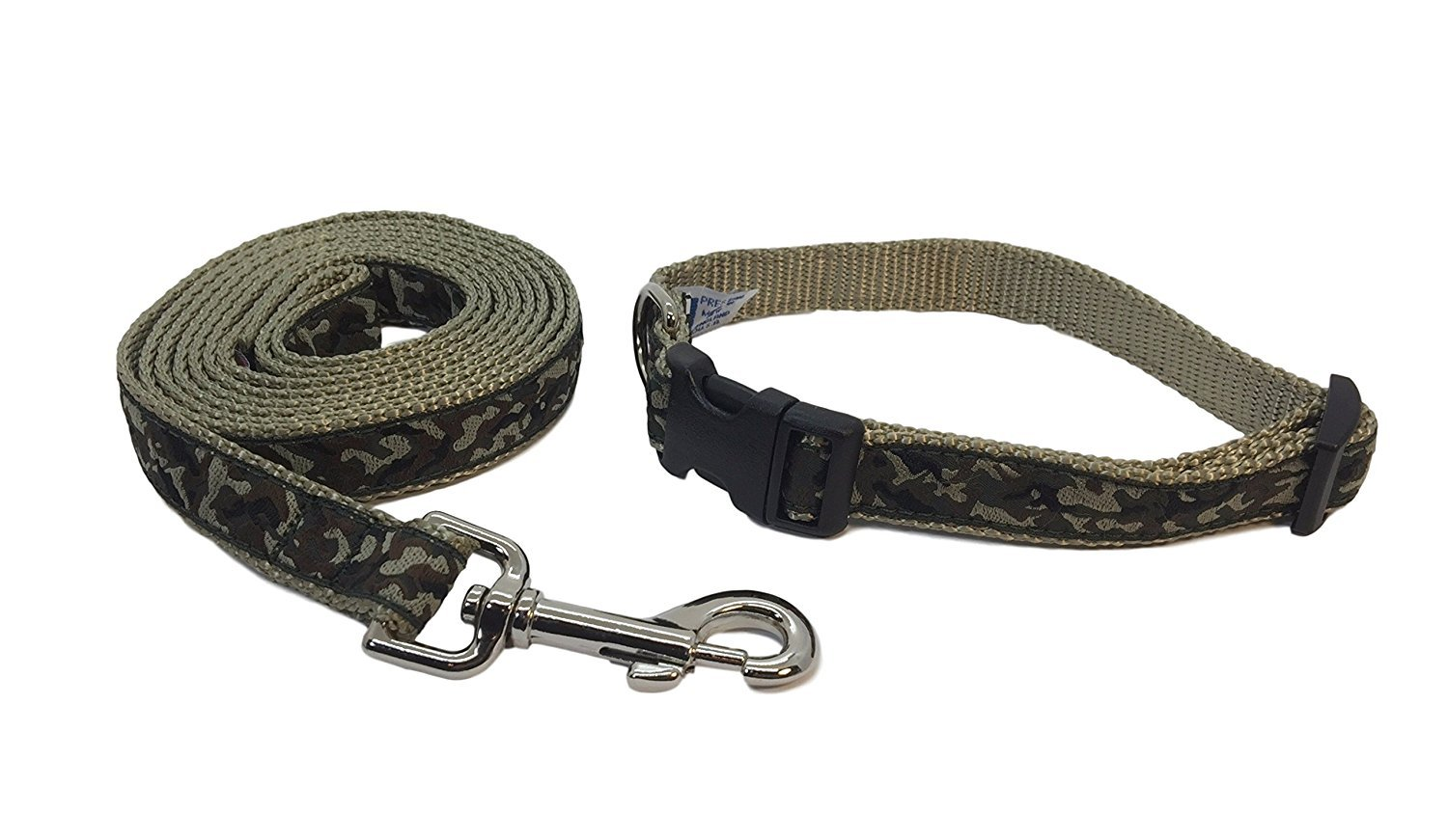 Extra Small Preston Camouflage Dog Collar and Leash Set Green and Brown Camo on Tan Webbing (Extra Small)