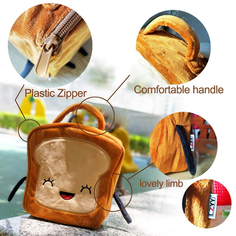 CZYY LunchBox Toast Shape Lunch Bag, Easy Clean with Comfortable Flannelette, Mini Lunch Tote for Kids Men & Women