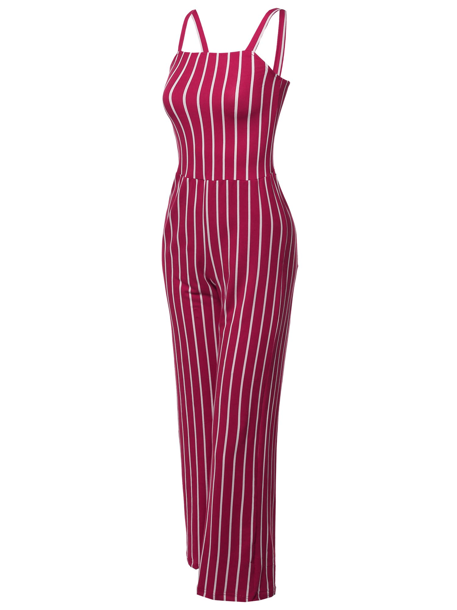 Made by Emma Casual Fashionable Stretchable Pinstripe Long Wide Leg Jumpsuit Burgundy S