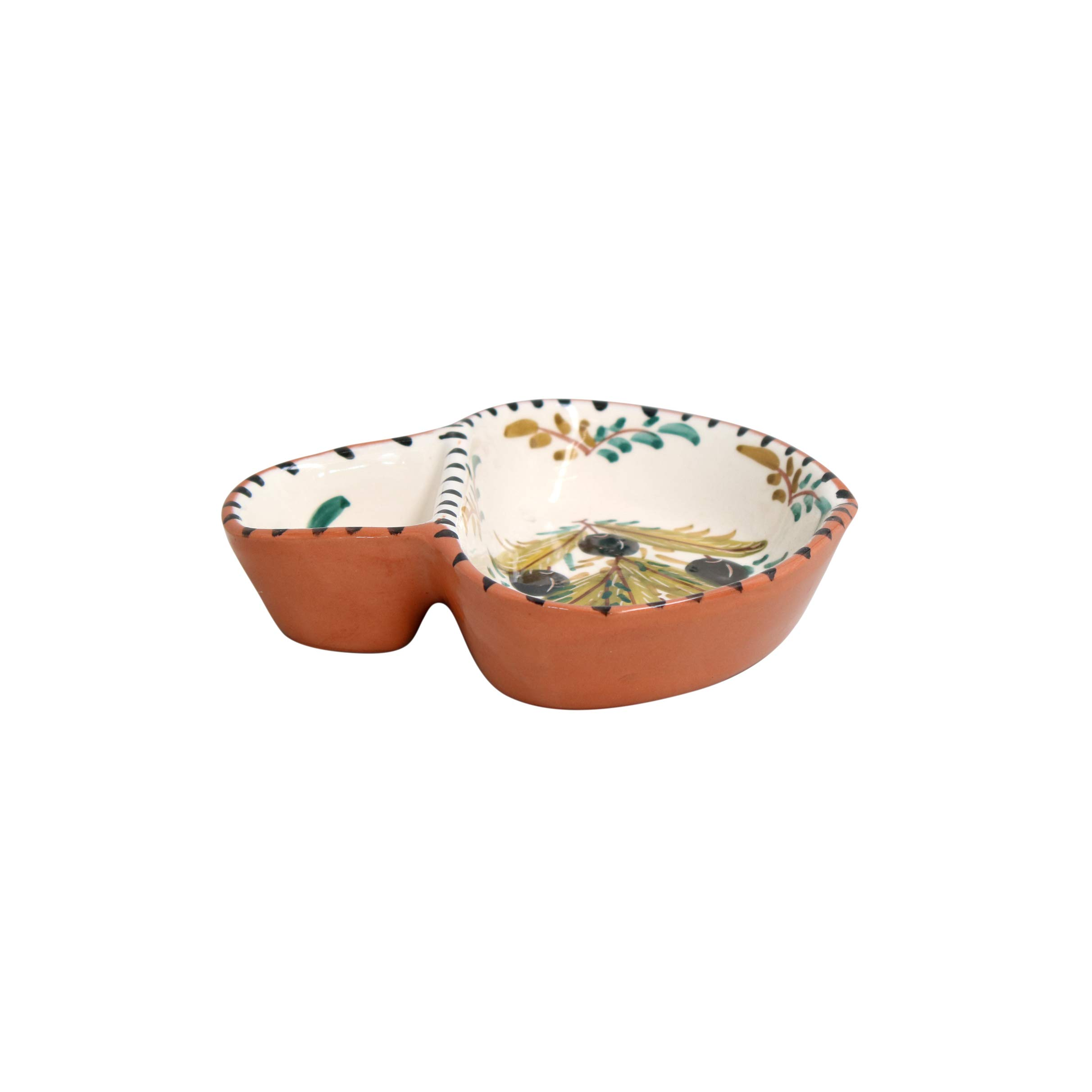 Casafina Alentejo Terracotta Collection Stoneware Ceramic Hand Painted Olive Dish (Large 6.5'')