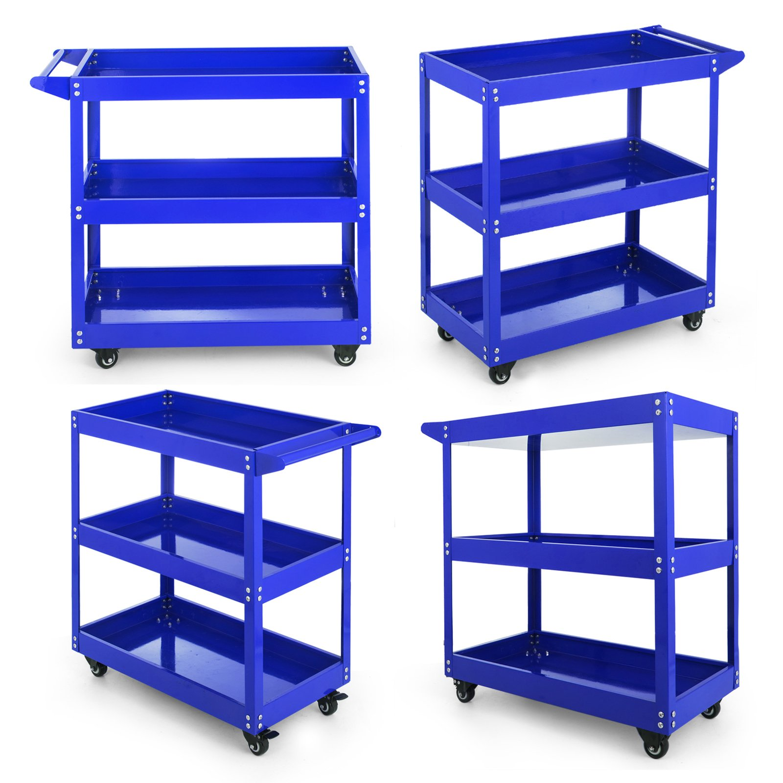 Popsport Utility Tub Cart Series 3-Tier Tool Cart Rolling Metal Tool Cart Heavy Duty Tool Cart with Handles and Rolling Caster Wheels for Transporting (103A Blue)