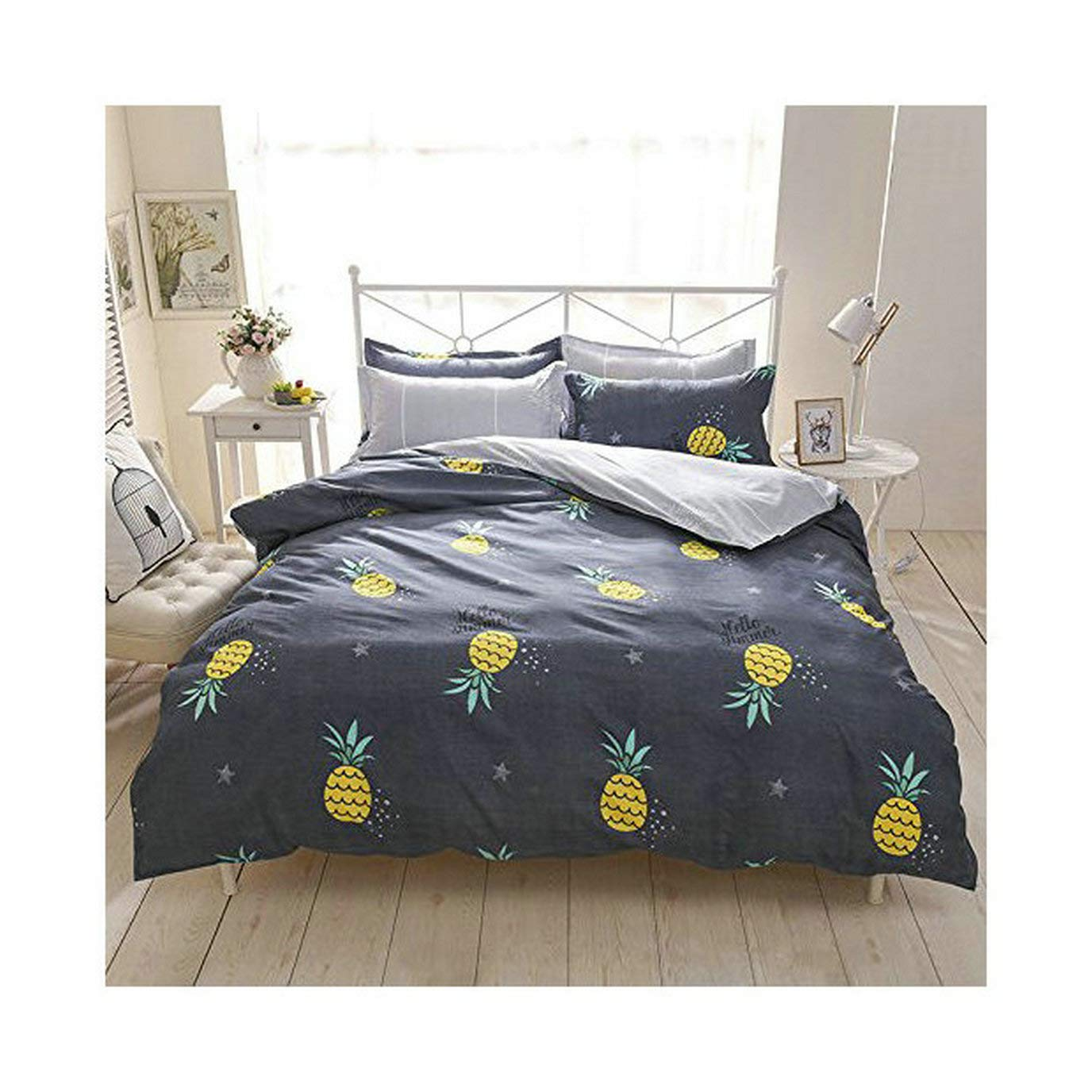 4pcs Beddingset Duvet Cover Set Without Comforter One Duvet Cover One Flatsheet Two Pillowcase KY Twin Full Queen Fruit Pineapple Banana Design (Twin 60