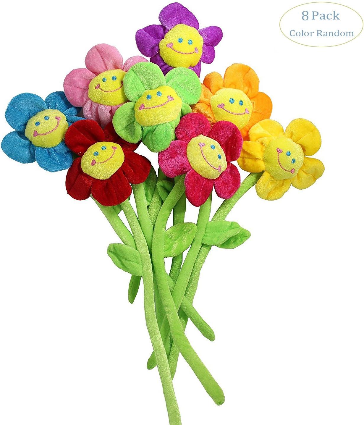 Hangnuo peluche Flores de sol con carita sonriente margaritas, se pueden doblar, sirven como alzapaños para cortinas, decoración habitaciones, bodas o fiestas, regalo de cumpleaños, varitas mágicas