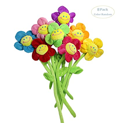 hangnuo 16 paquetes de peluche Daisy cara sonriente flores – multifuncional cortina bacakties Room Decor Regalo