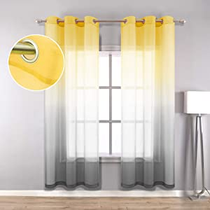 Yellow and Grey Curtains Wide 42x84 Inches Long for Living Room Set 2 Pack Grommet Window Sheer Panel Ombre Sunflower Decor for Dining Room Home Decorations Yellow Gray Width 42 x 84 Length