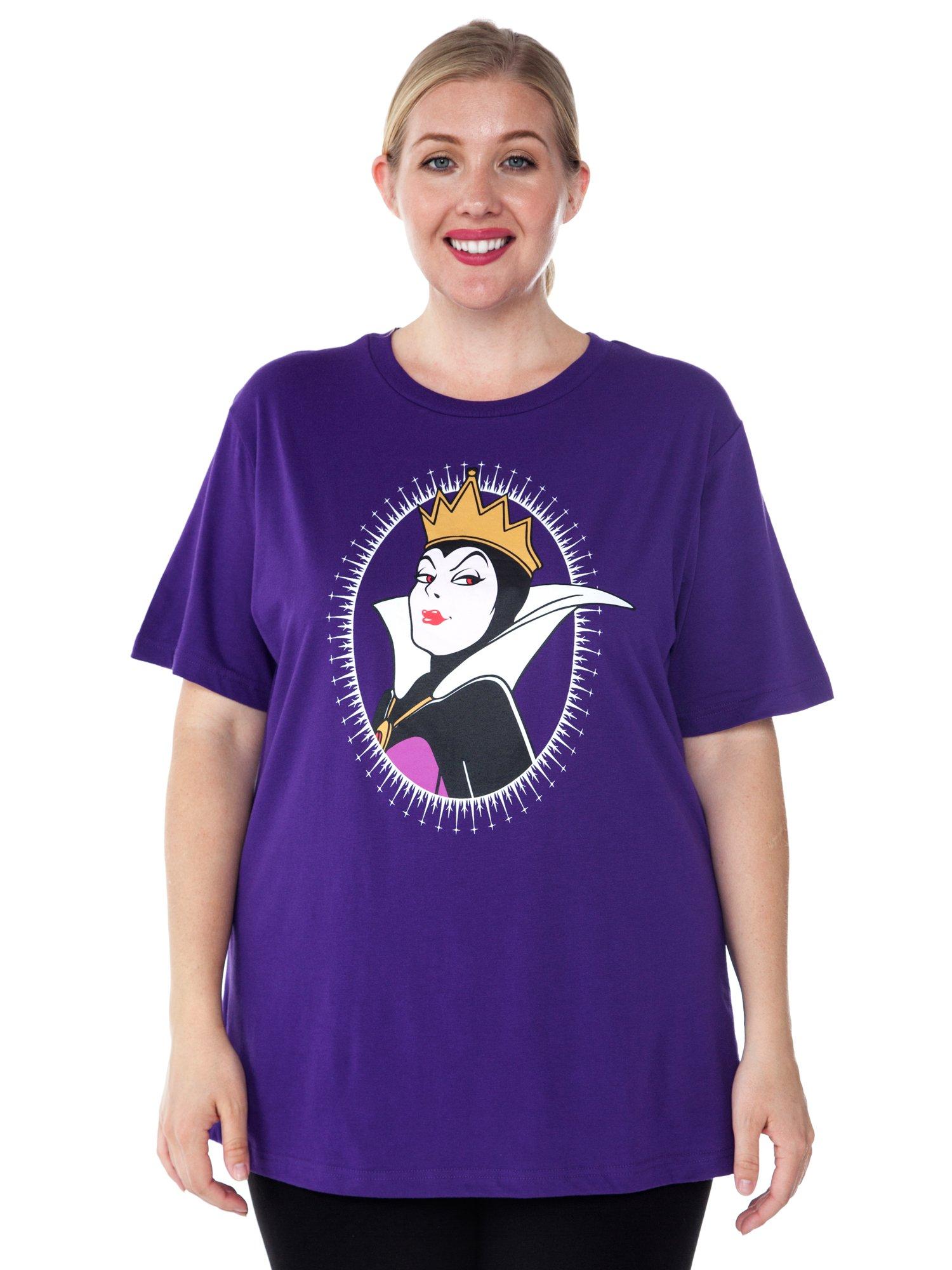 Disney Women's Plus Size T-Shirt Evil Queen Print Villain Snow White (Purple, 4X)