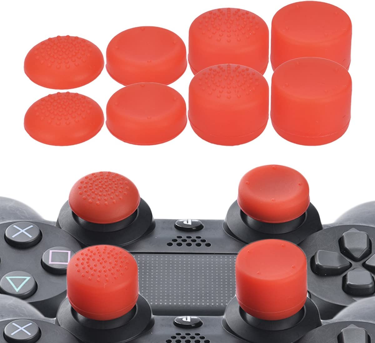 2 x Red Analog Thumb Stick Grips Caps Joystick for PS3 PS4 XBOX ONE 360 Wii U
