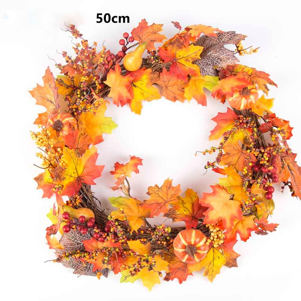 50cm Berry Maple Leaf Fall Door Wreath Door Wall Ornament Thanksgiving Day