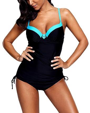 a3e3a949278ca Amazon.com  FEOYA Womens Tankini Sets V Neck Push up Crisscross Two Pieces  Swimsuits Bathing Suits  Clothing