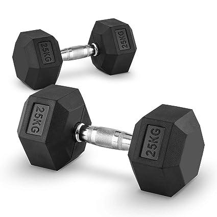 Capital Sports Hexbell Mancuernas gimnasio pesas de mano corta (peso 25 kg, cabezales hexagonales