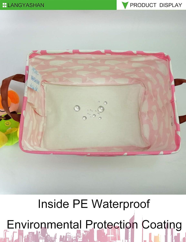 Toy Box//Toy Storage//Toy Organizer for Boys and Girls Rectangular Storage Bin Canvas Fabric Folding Gift Basket with Handles Pink Whale Nursery Hamper