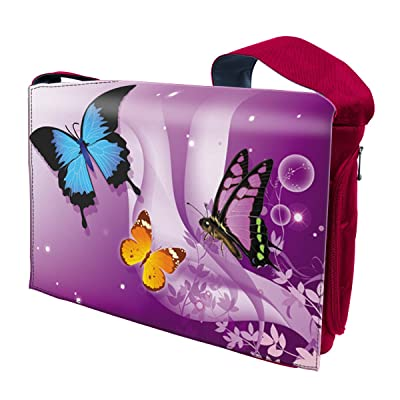 15 15.6 Inch Laptop Padded Compartment Shoulder Messenger Bag - Red Purple Butterfly
