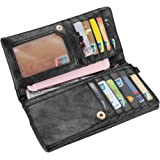 Realer Women's Wallet Clutch Double Zipper Card Holder Case Gift Purse