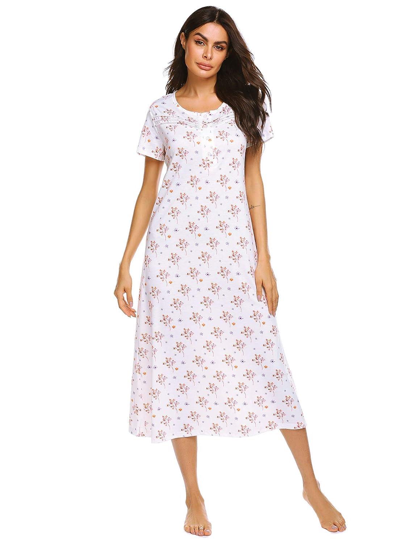 Women Short Sleeve 100/% Cotton Nightdress Floral Print Sleepshirt Summer Nightie