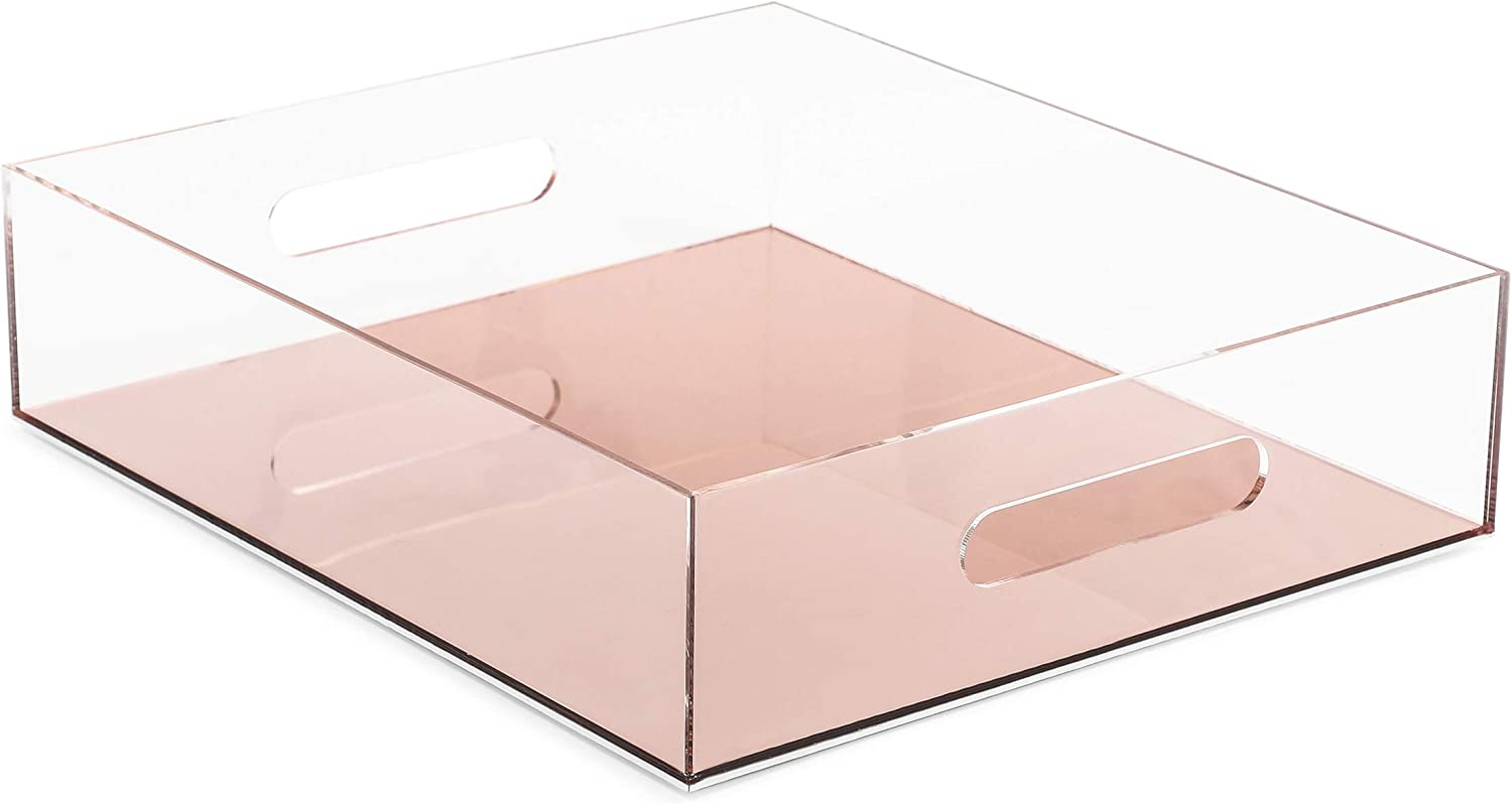 Rose Gold Acrylic Letter Tray for Office Desk (10.5 x 12 x 3 in)
