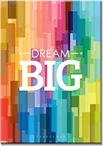 SEVEN WALL ARTS- Motivational and Inspirational Quote Dream Big Poster Picture Giclee Print Rainbow Color Artwork for Office Kids Room Home Decor 16 x 24 Inch