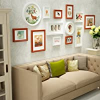 Qi Solid Wood Photo Wall Creative Combination Photo Background Wallliving Room Bedroom Staircasedecorative Photo Frame 13 Pieces,A
