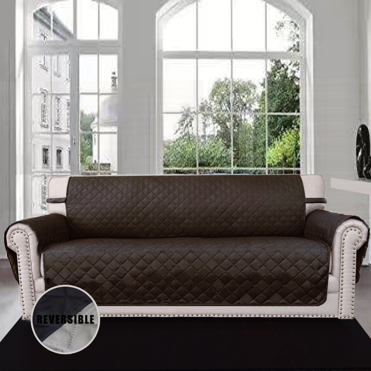 Details about 3 Seater Sofa Cover Set Reversible Covers Pet / dog / cat  Protector Slipcover
