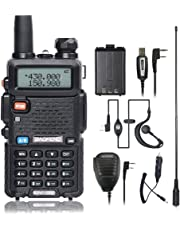 BaoFeng UV-5R Walkie Talkie 2 Way Radio with One More 1800mAh UV5R Battery One Car Charge One Hand Mic and One TIDRADIO NA-771 Antenna Baofeng Radio Ham Radio