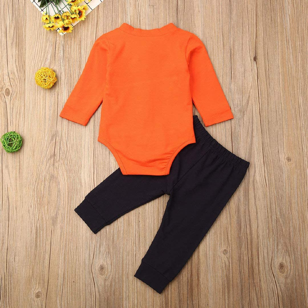 Bagilaanoe Infant Baby Boy Thanksgiving Clothes My First Thanksgiving Long Sleeve Romper Bodysuit Turkey Pants Outfits 3PCS