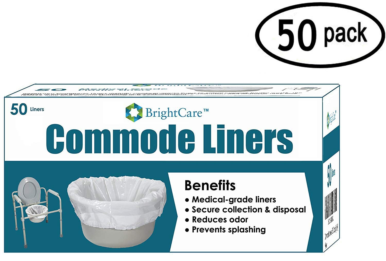 Commode Liners (50 Count) - Medical Grade Sanitary Liner Bags for Commode Pail and Bedside Toilet by BrightCare