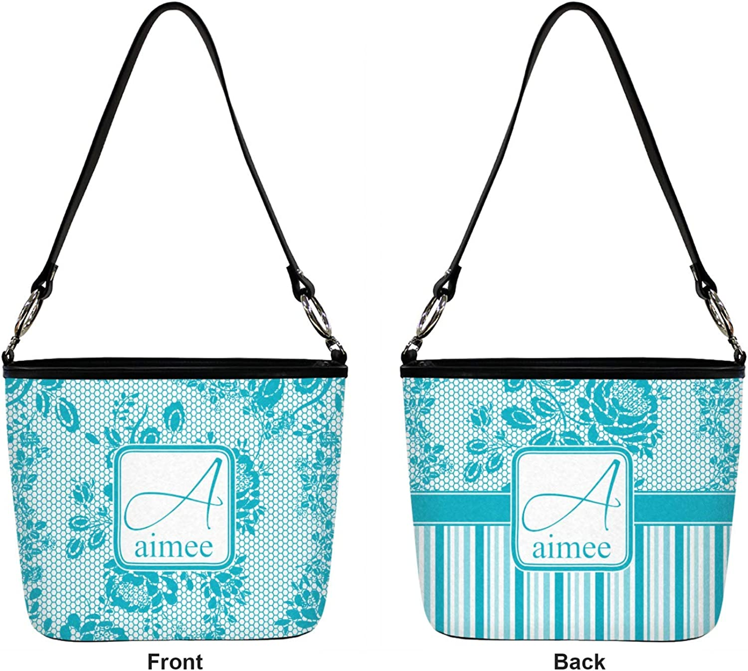 Lace Bucket Bag w//Genuine Leather Trim Front /& Back Regular Personalized