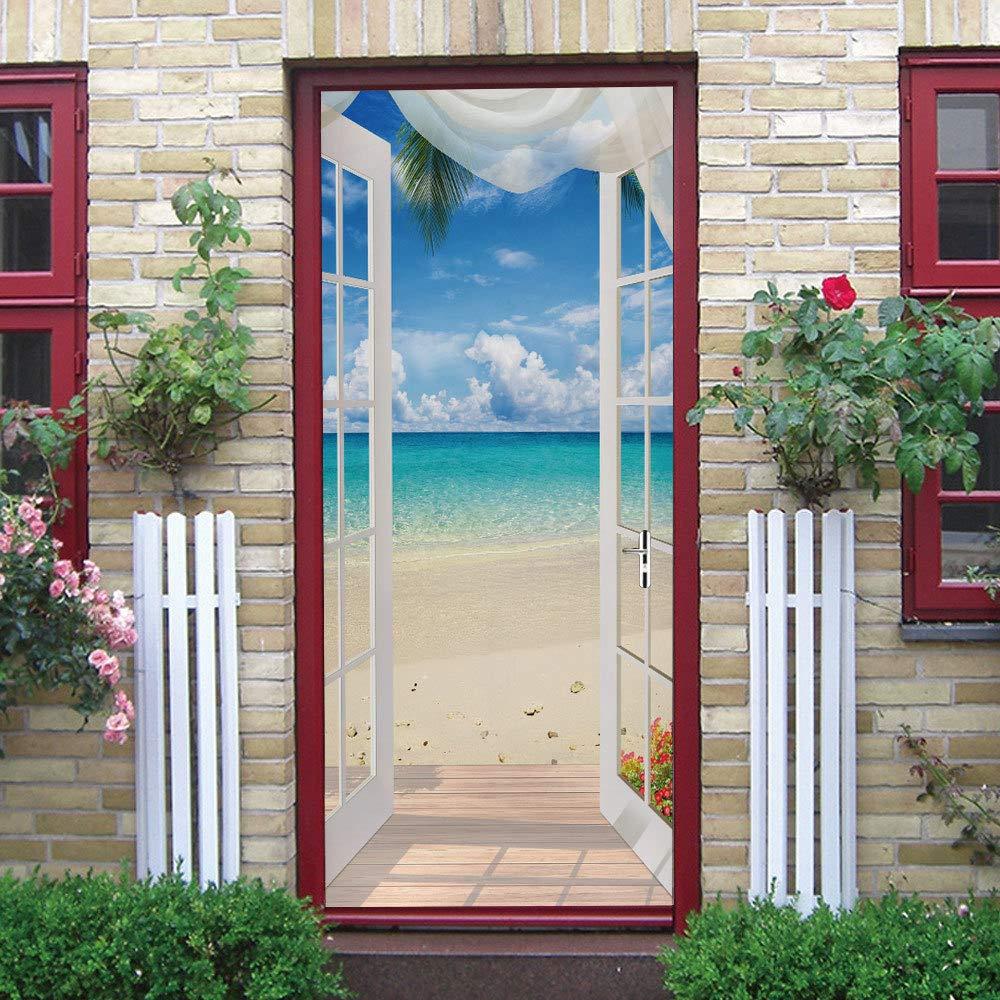3D Door Stickers Murals, Self-Adhesive Door Decals, 3D Wall Sticker Reusable Wallpaper - Blue
