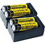 4pcs 6000mAh Li-ion 3.7V 18650 Rechargeable Batteries For Flashlight Torch + 2 x Dual Chargers