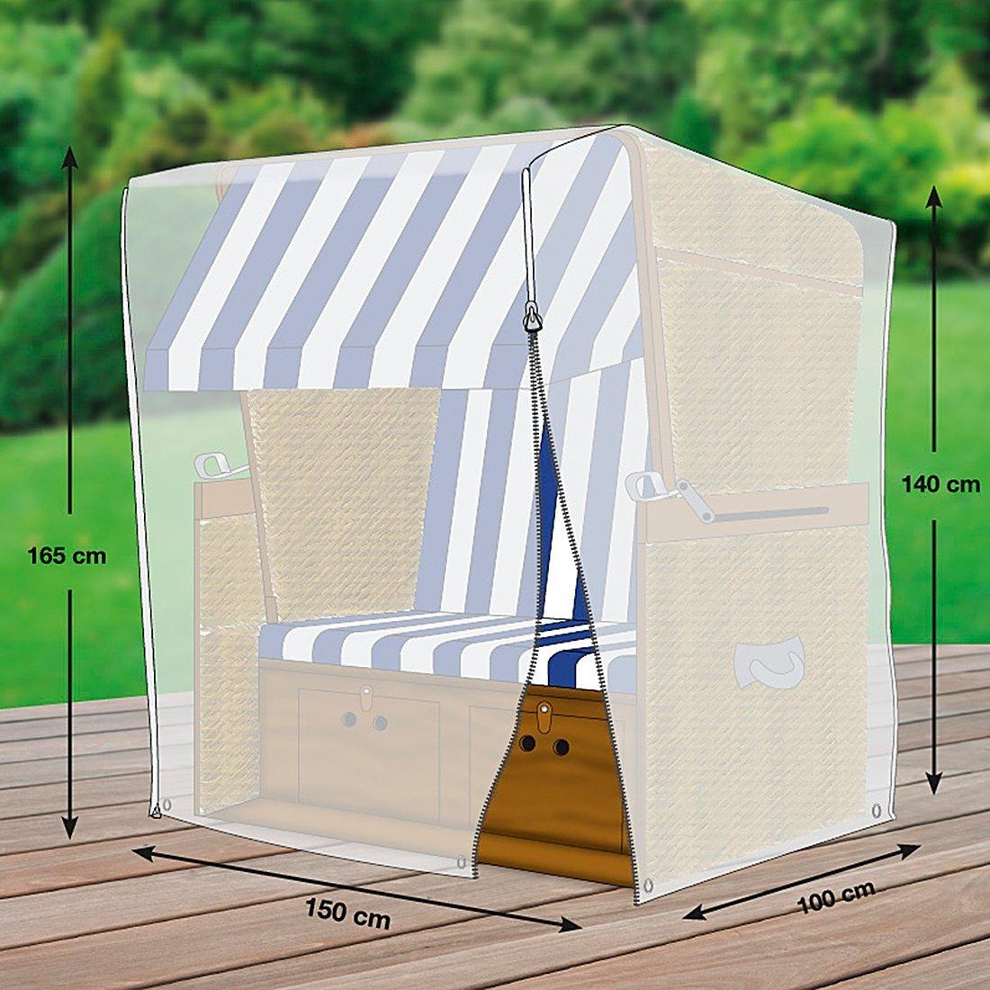 Gr/ö/ße XL von mehr Garten Breite: max. 150cm lichtgrau Premium Schutzh/ülle f/ür Strandkorb aus Polyester Oxford 600D