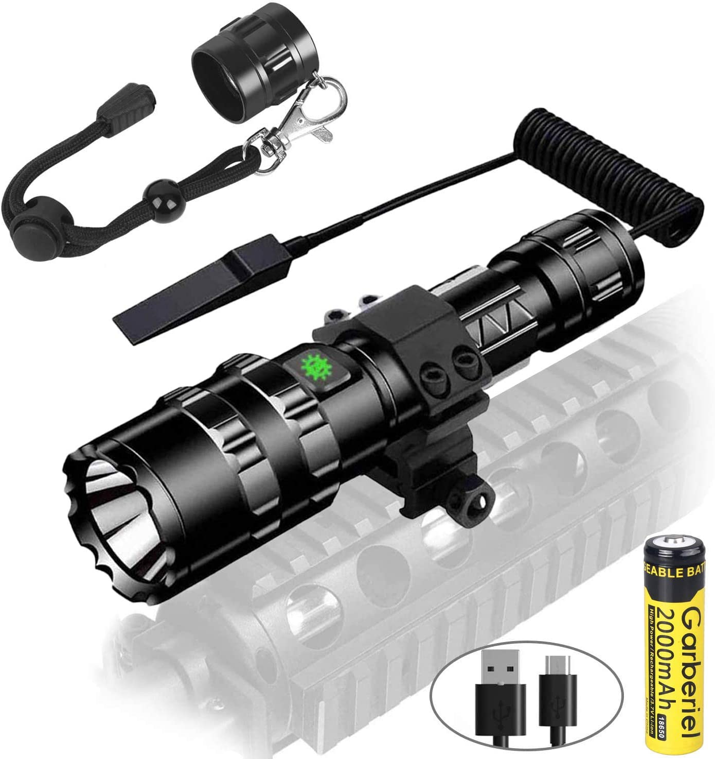 Garberiel 2 in 1 L2 LED Tactical Flashlight with Picatinny Rail Mount – 5 Modes 3000 Lumens Bright Flashlight USB Rechargeable Waterproof Scout Light Torch Hunting Light