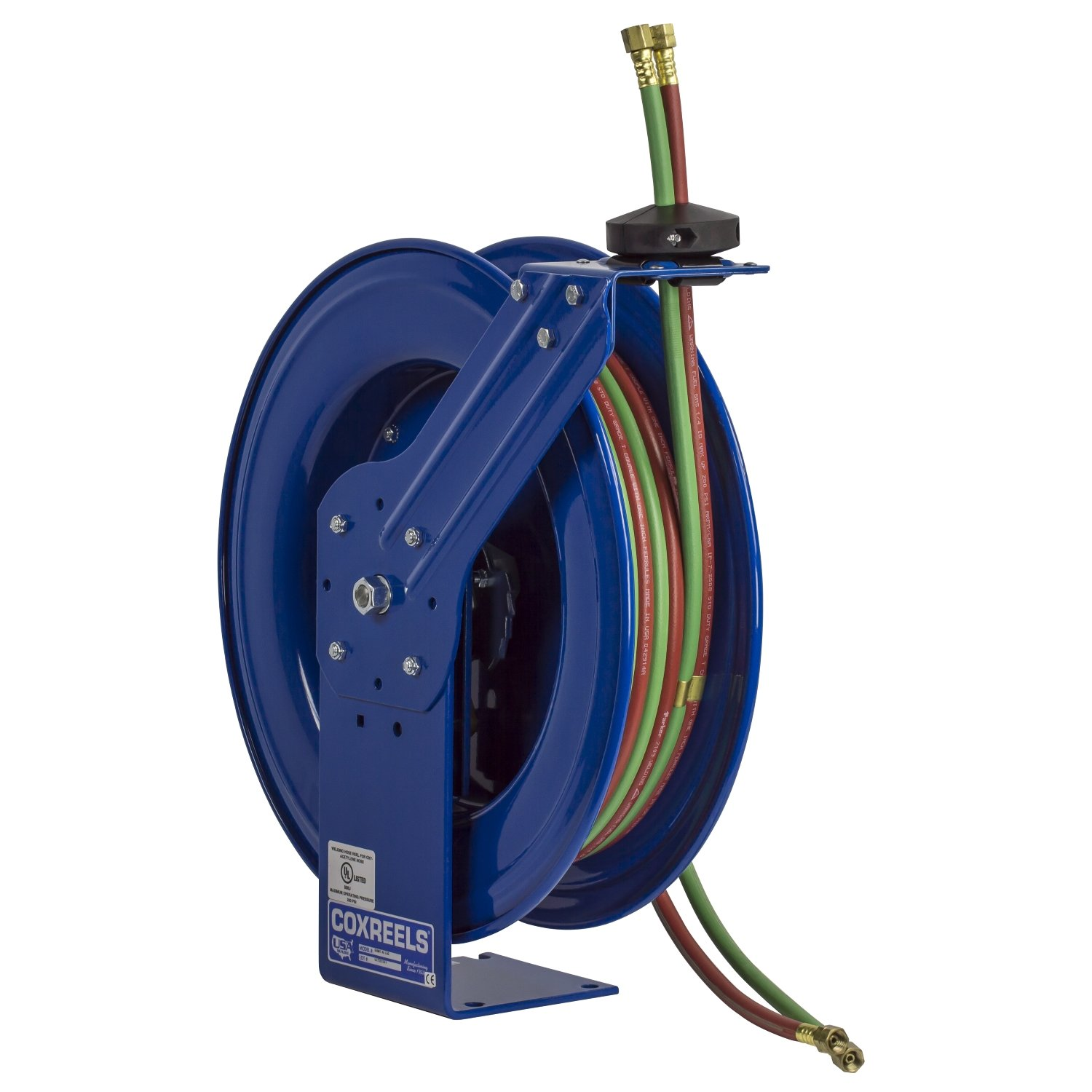 Coxreels Twin Line Spring-Driven Welding Hose Reel, Model# SHW-N-1100, 1/4'' Hose ID, 100' Length