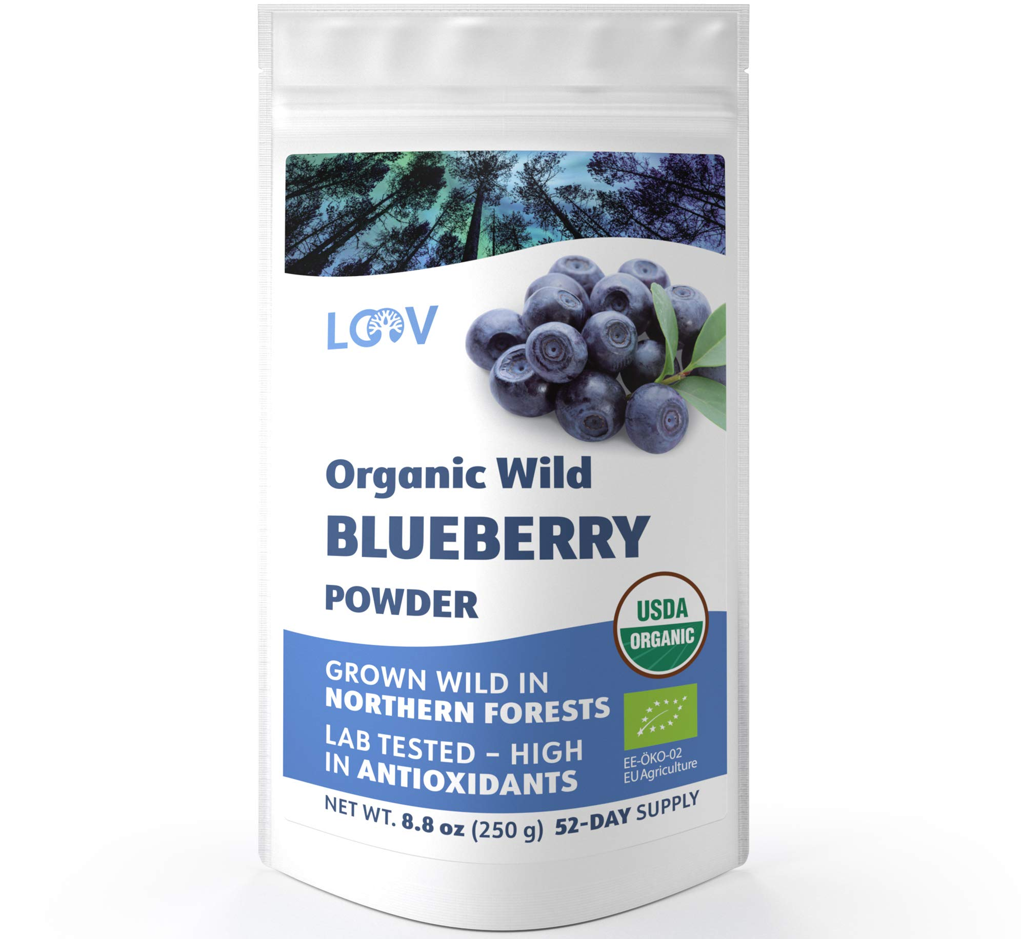 Organic Wild Blueberry Powder, Wild-crafted from Nordic Forests, 100% Whole Fruit Bilberry, 52-day Supply, 8.8 oz, Freeze-dried and Powdered Wild Blueberries, High in Anthocyanins, Free Recipe Book by LOOV