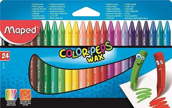 Maped 861013 de lápices Color Peps Wax 24, estuche de cartón: Amazon.es: Oficina y papelería