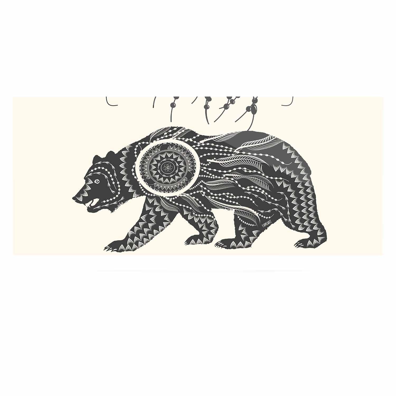 Kess InHouse Famenxt Boho Ornate Bear Beige Black Luxe Rectangle Panel 24 x 36