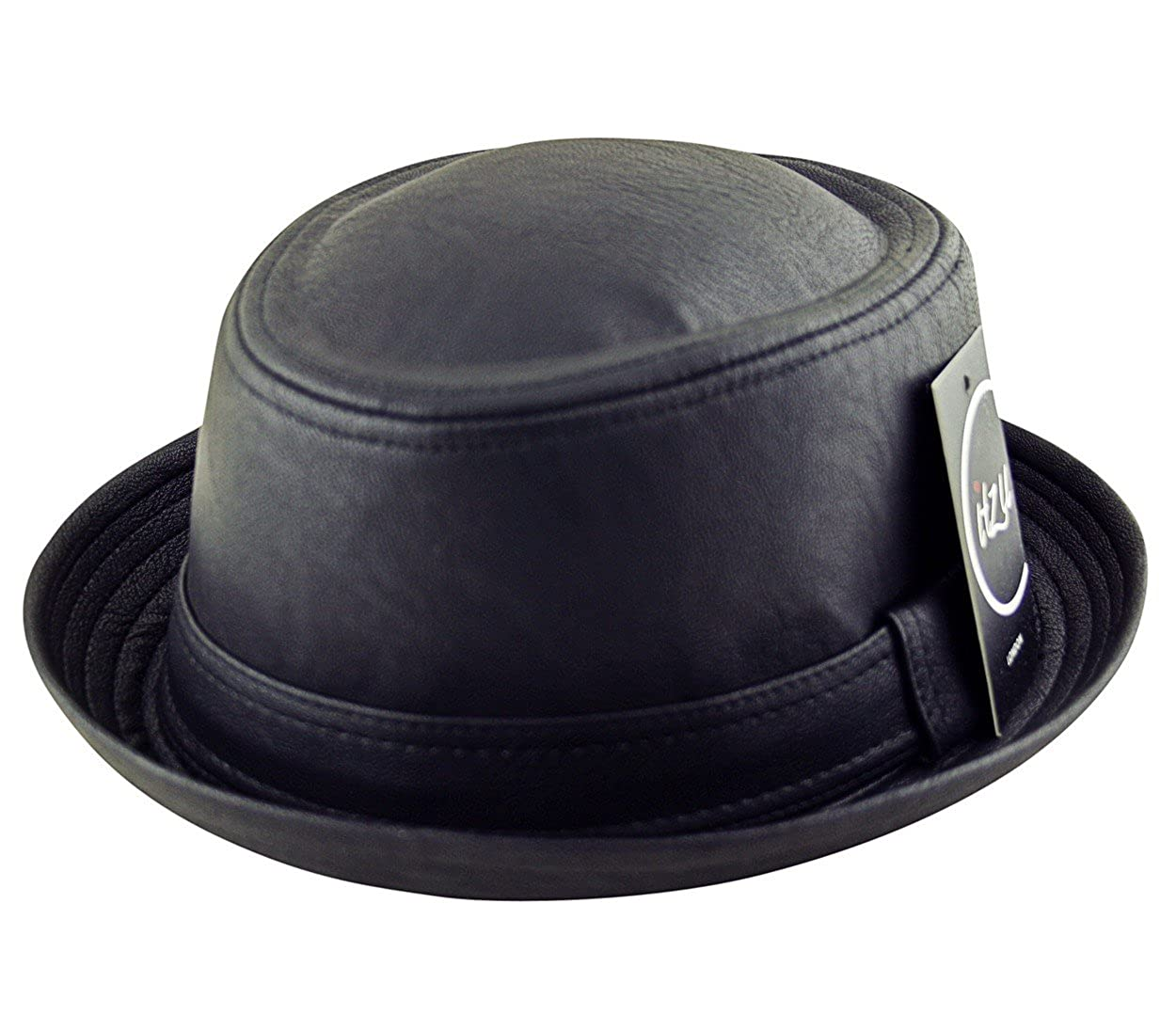 d292c593 Adult Pork Pie Trilby Fedora Textured Faux Leather Hat (Breaking Bad  Heisenberg Style) Matte Black: Amazon.co.uk: Clothing