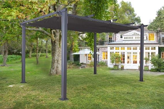 Jet-Line Luxor - Pérgola para jardín (4 x 3 m), color gris antracita, beige o antracita, Anthrazit-Anthrazit: Amazon.es: Jardín