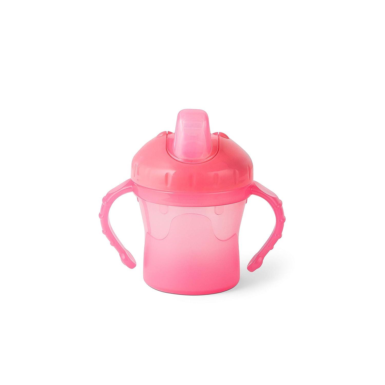 Bambino Easy Sip Vaso de aprendizaje para beb/é biber/ón con asas para destete de f/ácil uso vaso antiderrame infantil con tetina de silicona rosa