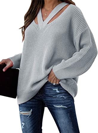 Women Off Shoulder Long Sleeve Sweater Pullover Jumper Tops Casual Loose Blouse