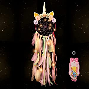 Holmgren Unicorn Dream Cather for Girls- Colorful Feather Handmade Flowers Wall Hanging Dream Catchers Led Lights for Bedroom, Wall Hanging, Party Decoration, Lovely Girls (Purple)