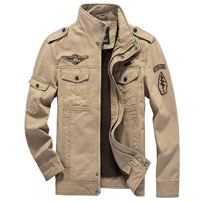 Amazon.com: Chaqueta militar de algodón para hombre 2019 con ...