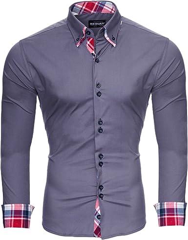 Camisa para hombre Reslad Slim Fit, fácil de planchar, ideal para traje, negocios, boda, tiempo libre, manga larga, camisa para hombres RS-7015: Amazon.es: Ropa y accesorios